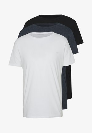 3 PACK - Basic T-shirt - black/navy melange/white