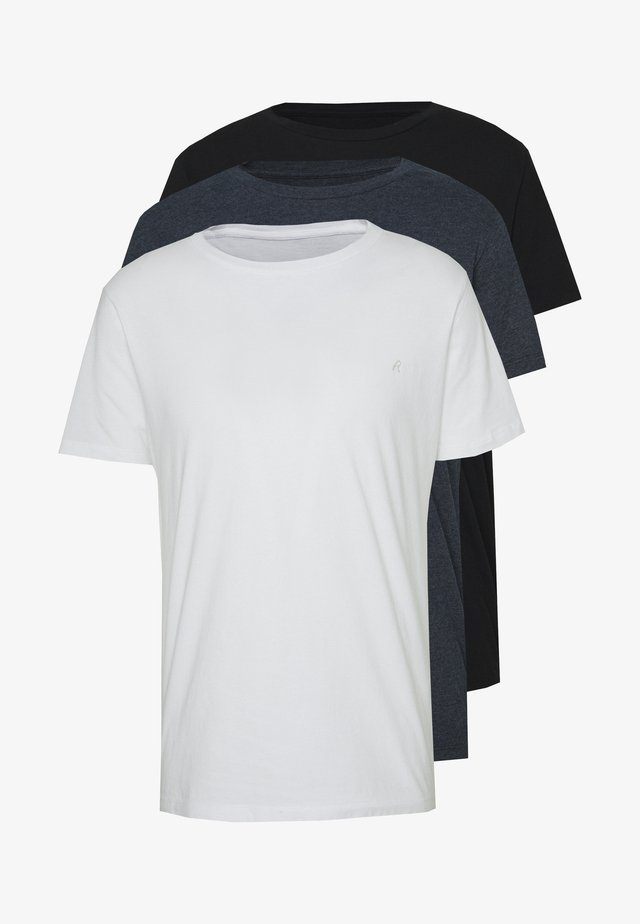 3 PACK - T-shirts basic - black/navy melange/white