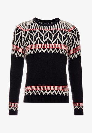 Stickad tröja - black/red/white