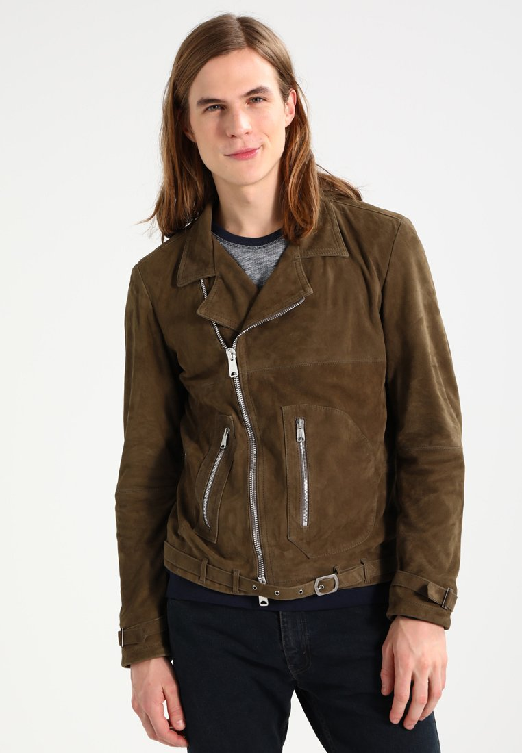 Replay - Leather jacket - olive