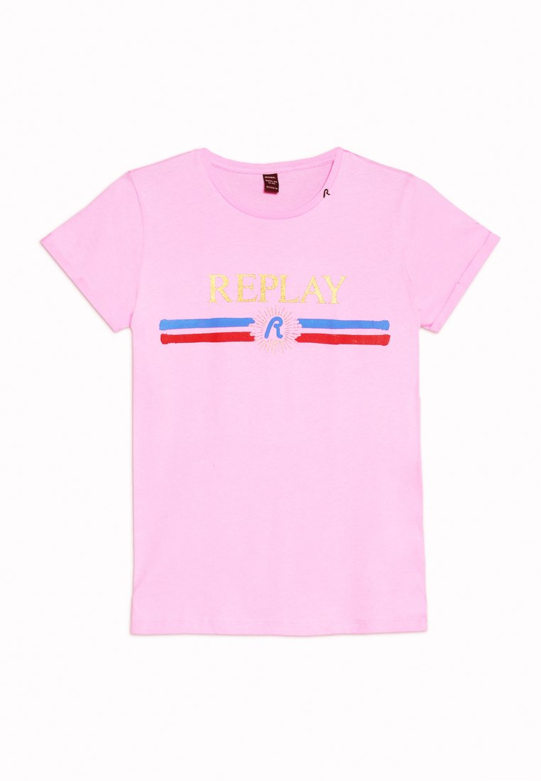 Replay - T-shirt med print - pink fluo