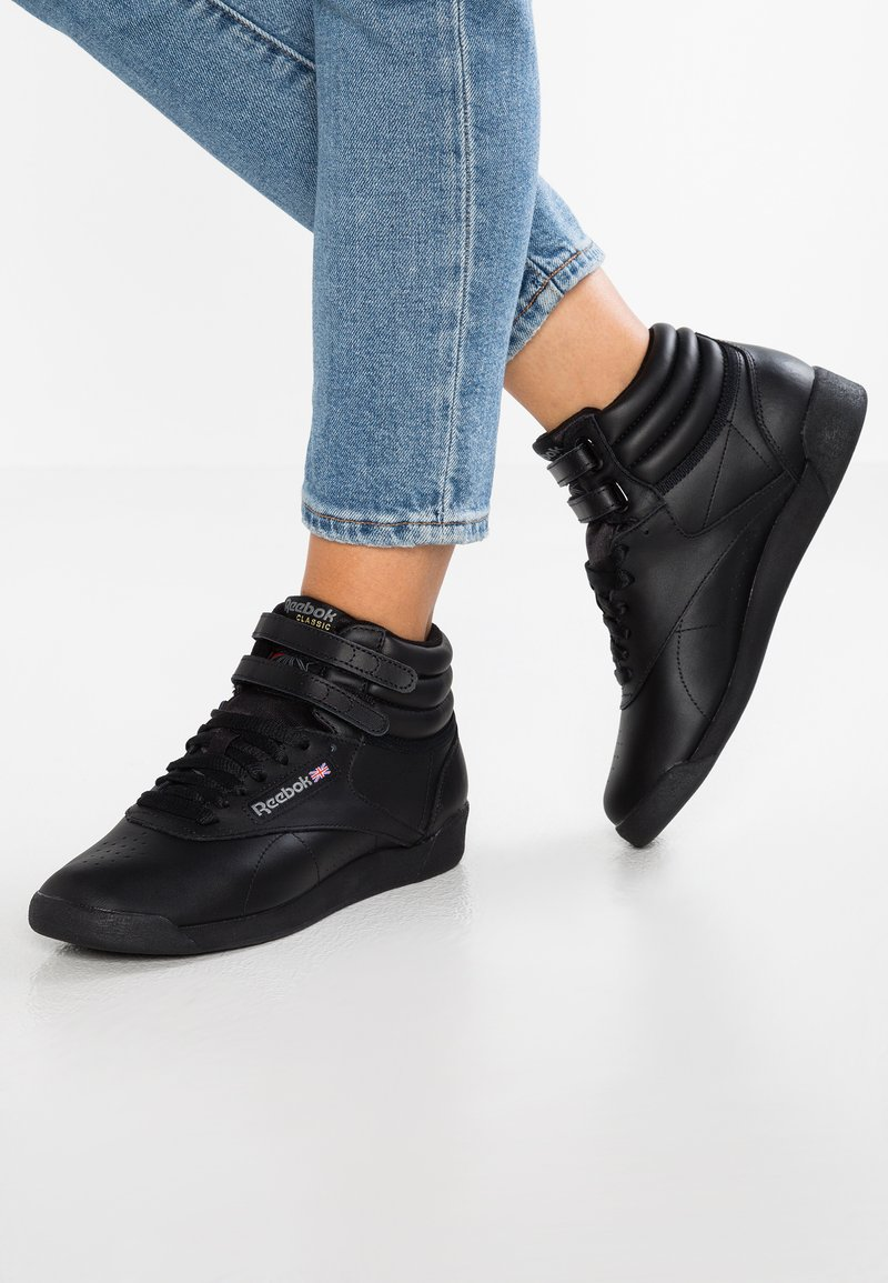 Reebok Classic - FREESTYLE HI LIGHT SOFT LEATHER SHOES - High-top trainers - black