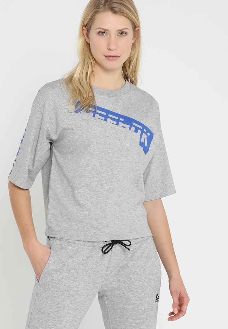 Reebok - GRAPHIC TEE - T-Shirt print - medium grey heather