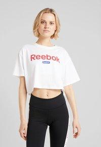 Reebok - LINEAR LOGO CROP TEE - Print T-shirt - white - 0