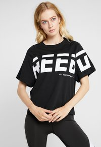 Reebok - MEET YOU THERE GRAPHIC TEE - Print T-shirt - black - 0