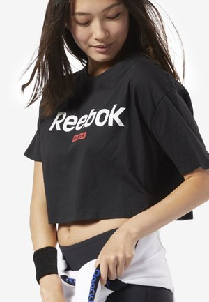 TRAINING ESSENTIALS LINEAR LOGO CROP TEE - T-shirts med print - black