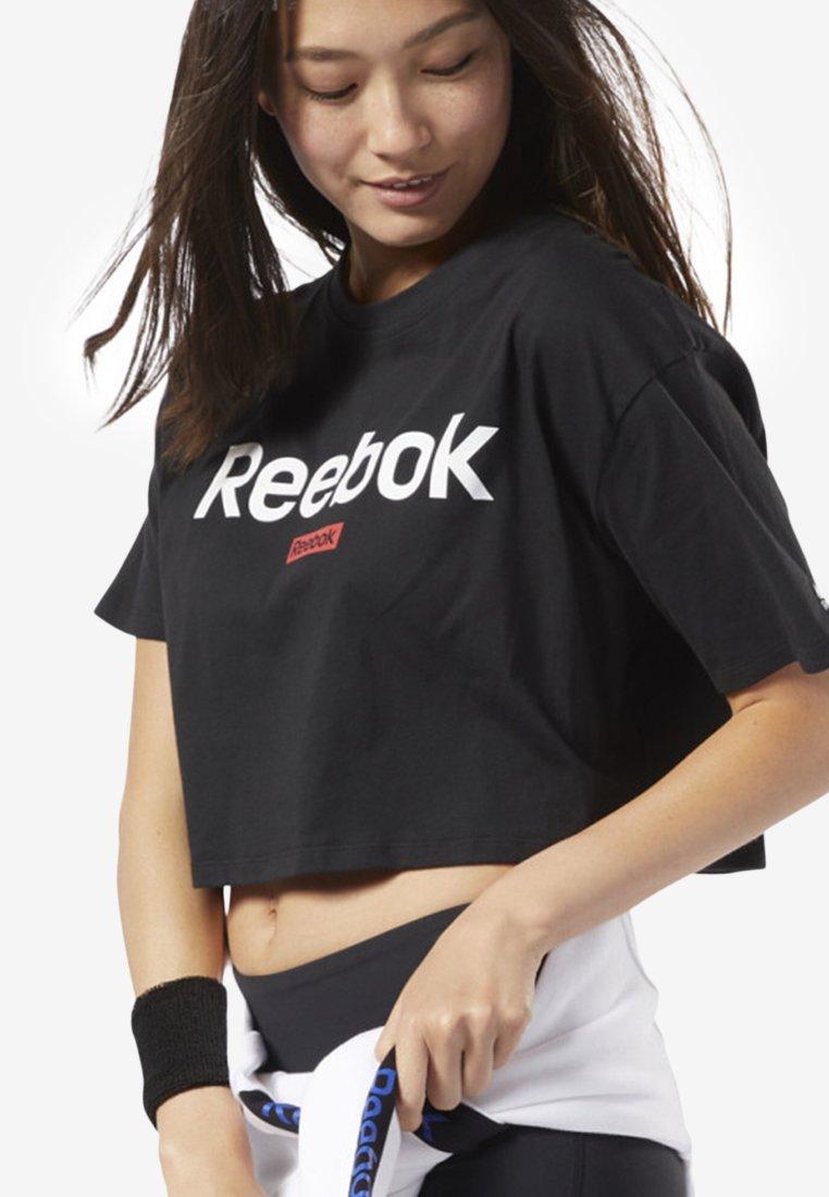 Reebok - TRAINING ESSENTIALS LINEAR LOGO CROP TEE - T-Shirt print - black