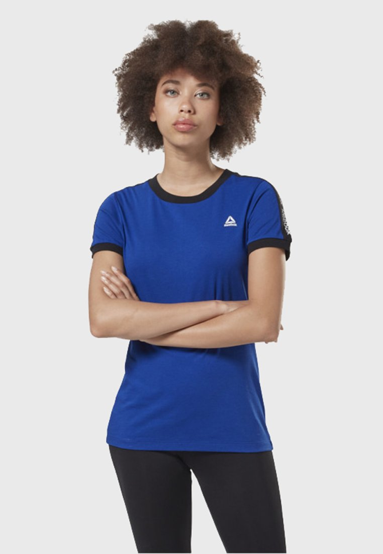 Reebok - TRAINING ESSENTIALS LINEAR LOGO TEE - T-Shirt print - blue