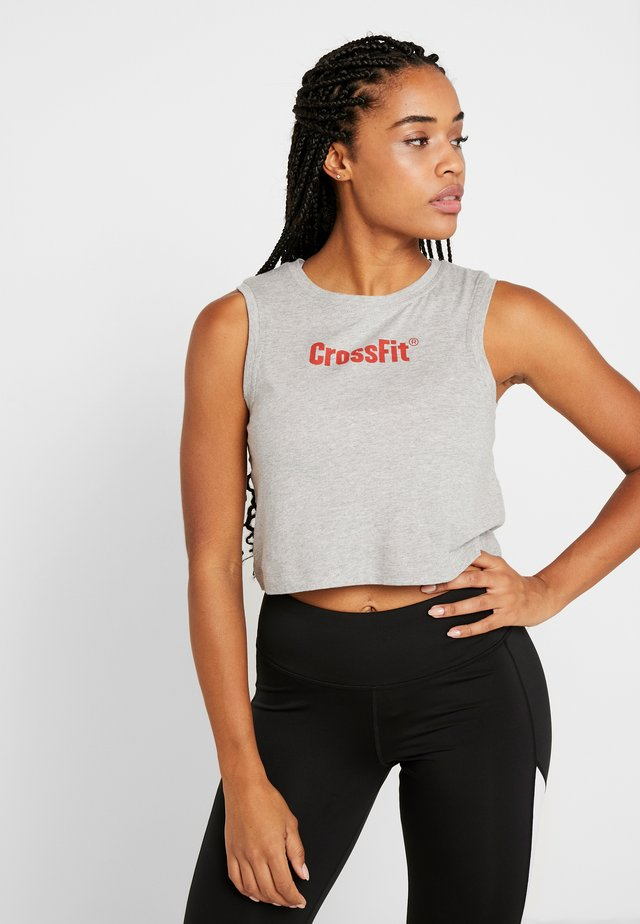 CROP READ TEE - Top - medium grey heather