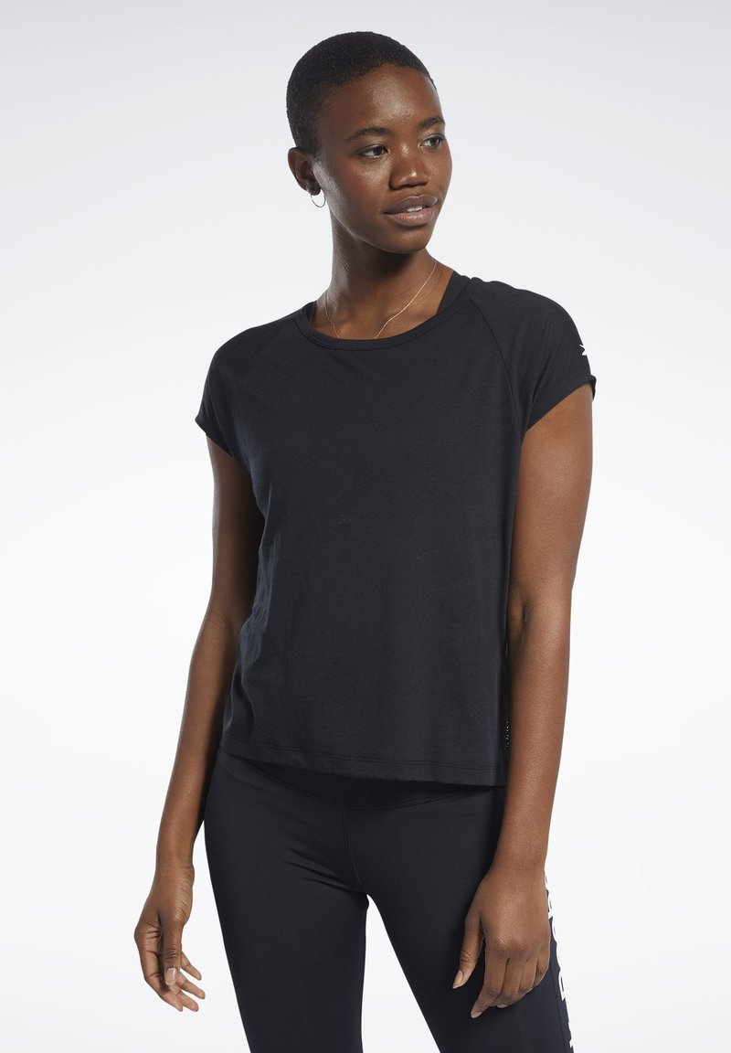 Reebok - BURNOUT TEE - T-shirts - black