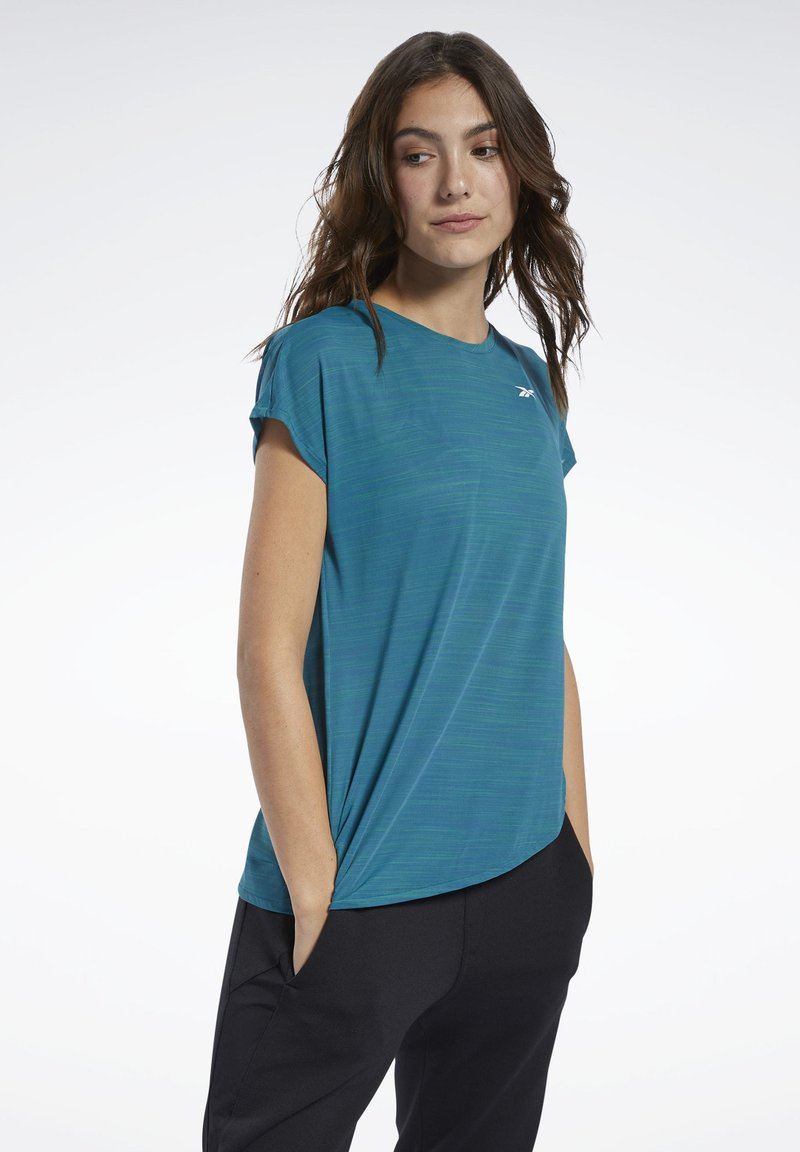 Reebok - WORKOUT READY ACTIVCHILL TEE - T-shirts med print - heritage teal
