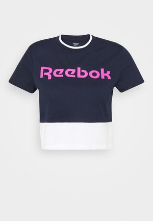 LINEAR LOGO CROP TEE - Print T-shirt - navy
