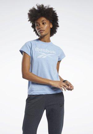 TRAINING ESSENTIALS LOGO TEE - T-shirt print - blue