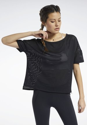PERFORATED T-SHIRT - Print T-shirt - black