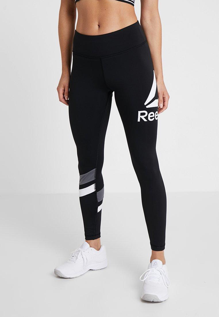 Reebok - TRAINING BIG LOGO LEGGING - Tights - black