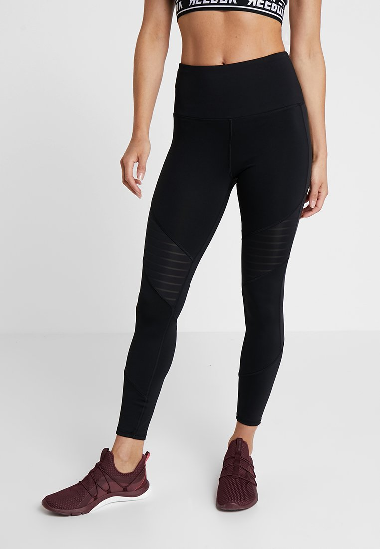 Reebok - STUDIO MESH RUNNING LEGGINGS - Collants - black