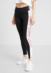 Reebok - TRAINING ESSENTIALS LINEAR LOGO LEGGING - Punčochy - black - 0