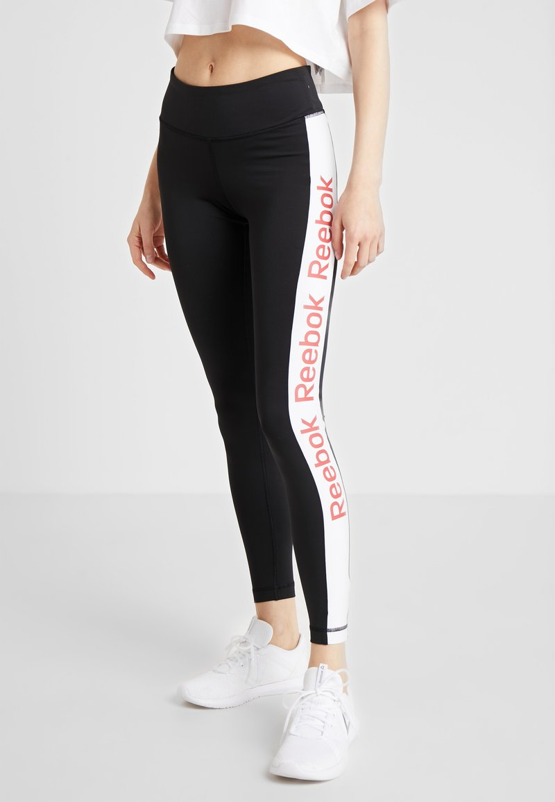 Reebok - TRAINING ESSENTIALS LINEAR LOGO LEGGING - Collant - black