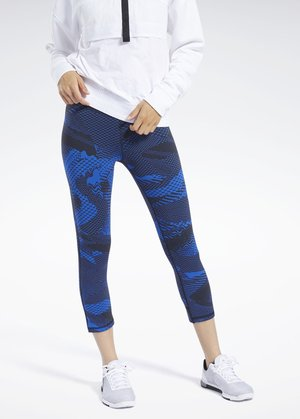 REEBOK LUX 3/4 TIGHTS 2.0 - GEO STATIC - 3/4 Sporthose -  blue
