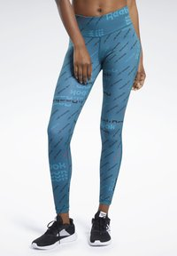 Reebok - WORKOUT READY ALLOVER PRINT TIGHTS - Tights - heritage teal - 0