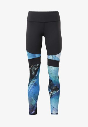 REEBOK LUX COLORBLOCK PRINTED TIGHTS 2.0 - Tights - black