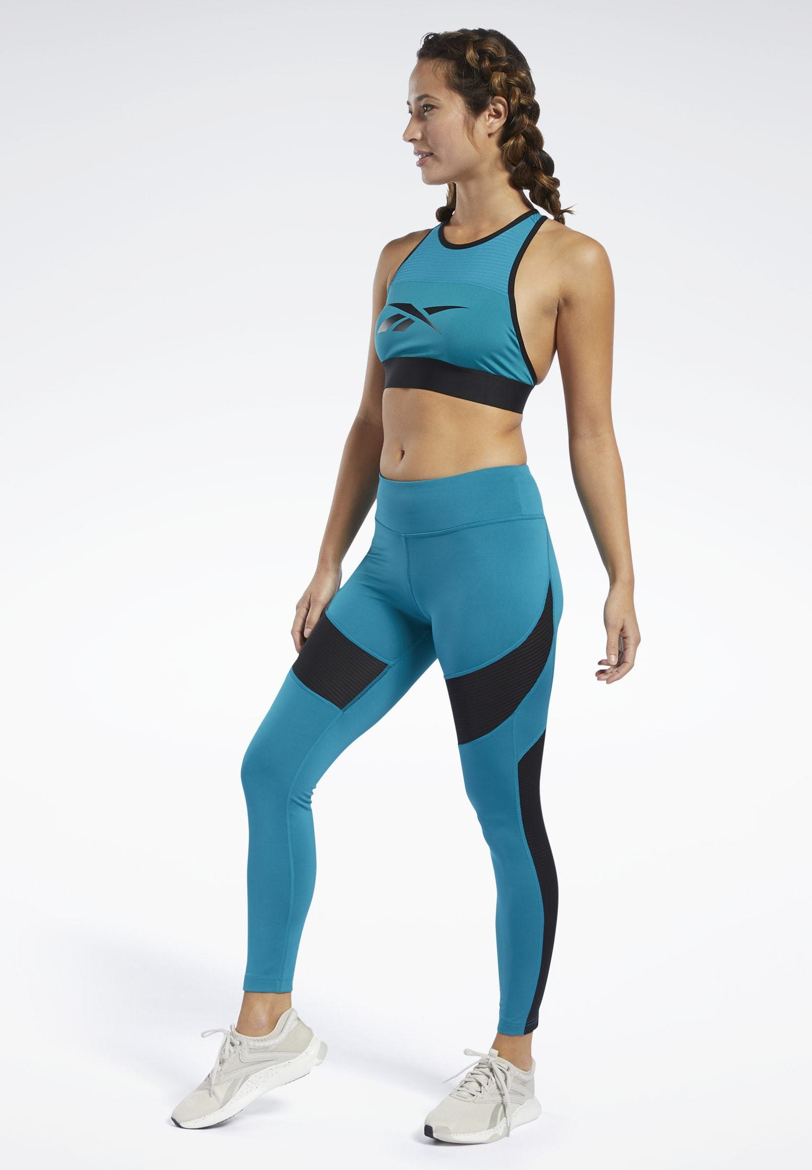 Reebok Workout Ready Mesh Tights - Seaport Teal