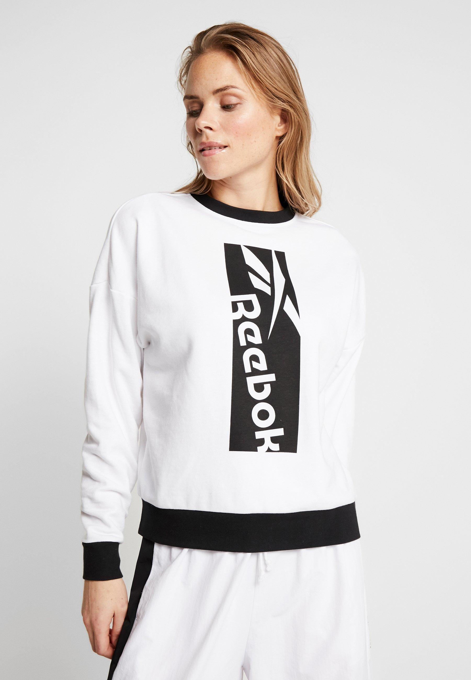 Reebok WORKOUT READY SPORT LONG SLEEVE PULLOVER - Sweatshirt - white