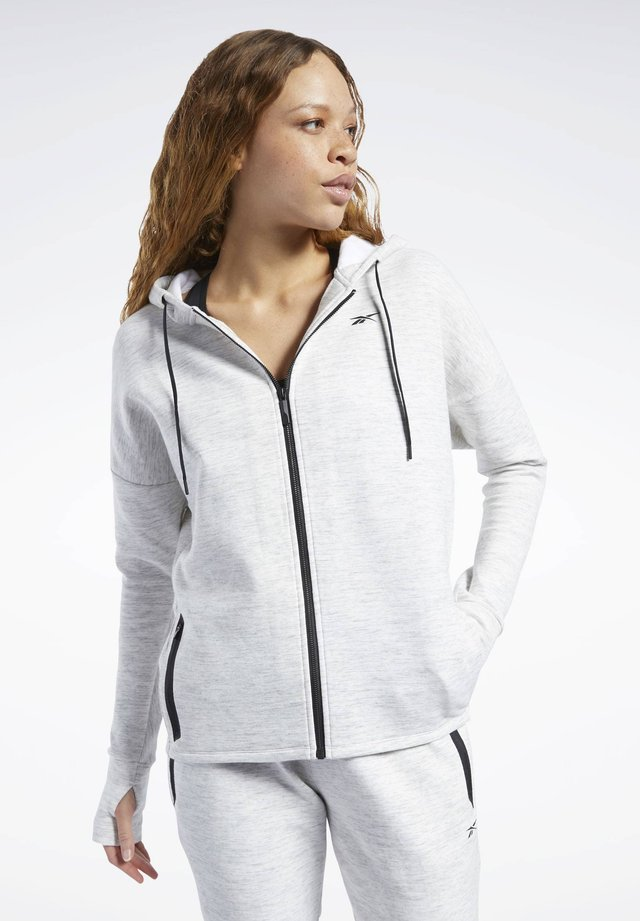 UNITED BY FITNESS DOUBLEKNIT FULL-ZIP HOODIE - Huvtröja med dragkedja - white