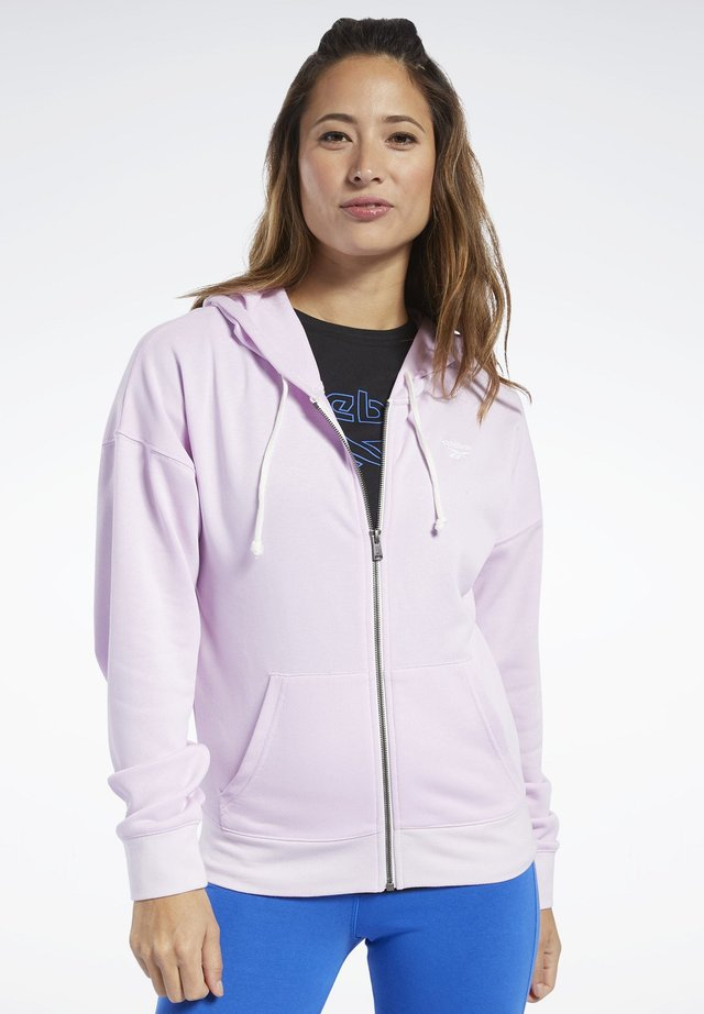 TRAINING ESSENTIALS FULL-ZIP HOODIE - Huvtröja med dragkedja - pixel pink