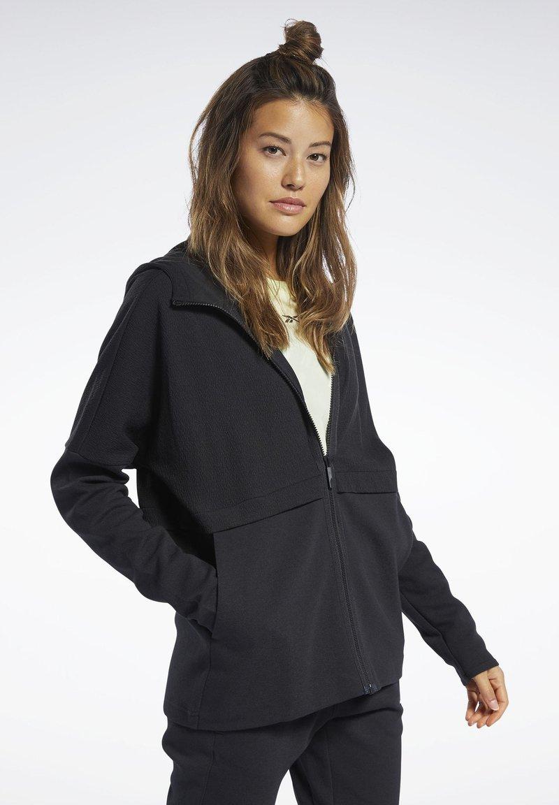 Reebok - QUIK COTTON HOODIE - veste en sweat zippée - black