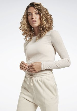 STUDIO RIBBED LONG SLEEVE TEE - Topper langermet - beige