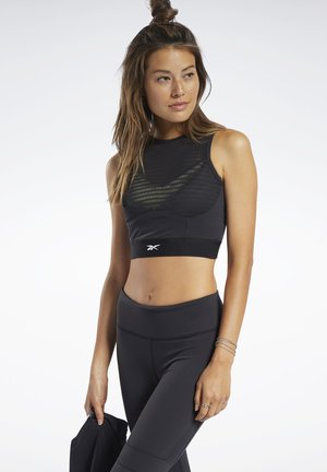 PERFORATED CROP TOP - Sportshirt - black