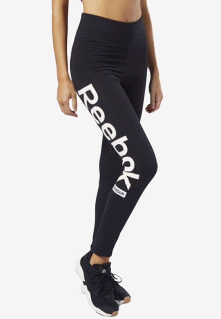 Reebok - TRAINING ESSENTIALS LINEAR LOGO TIGHTS - Legging - black