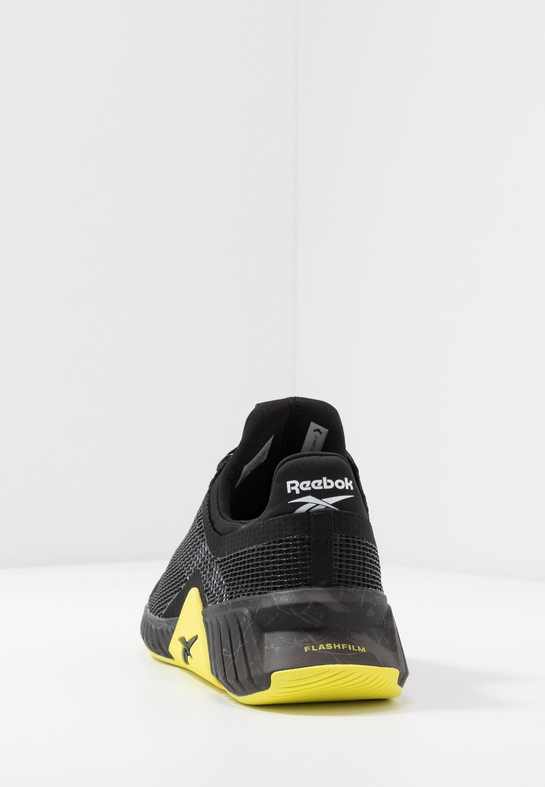 Reebok FLASHFILM TRAIN - Zapatillas de entrenamiento - black/white/hero yellow
