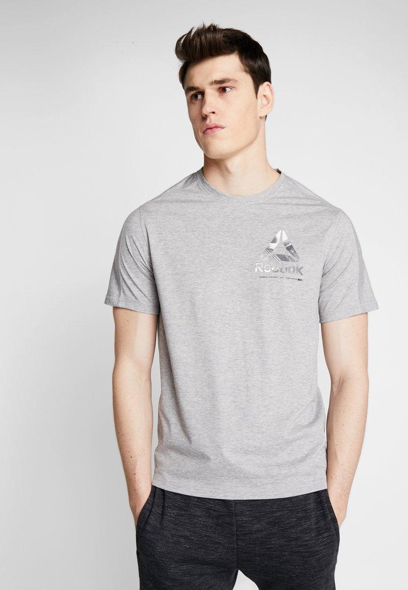 Reebok - OST SPEEDWICK GRAPHIC TEE - T-shirt con stampa - mid grey heather