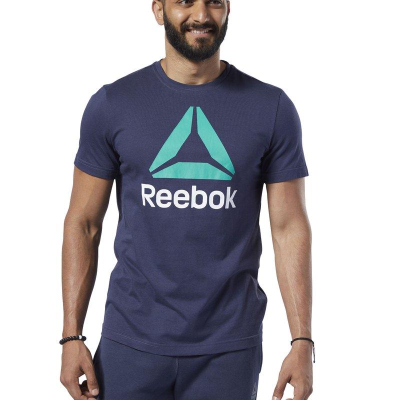 Reebok - REEBOK STACKED LOGO TEE - T-shirt print - heritage navy
