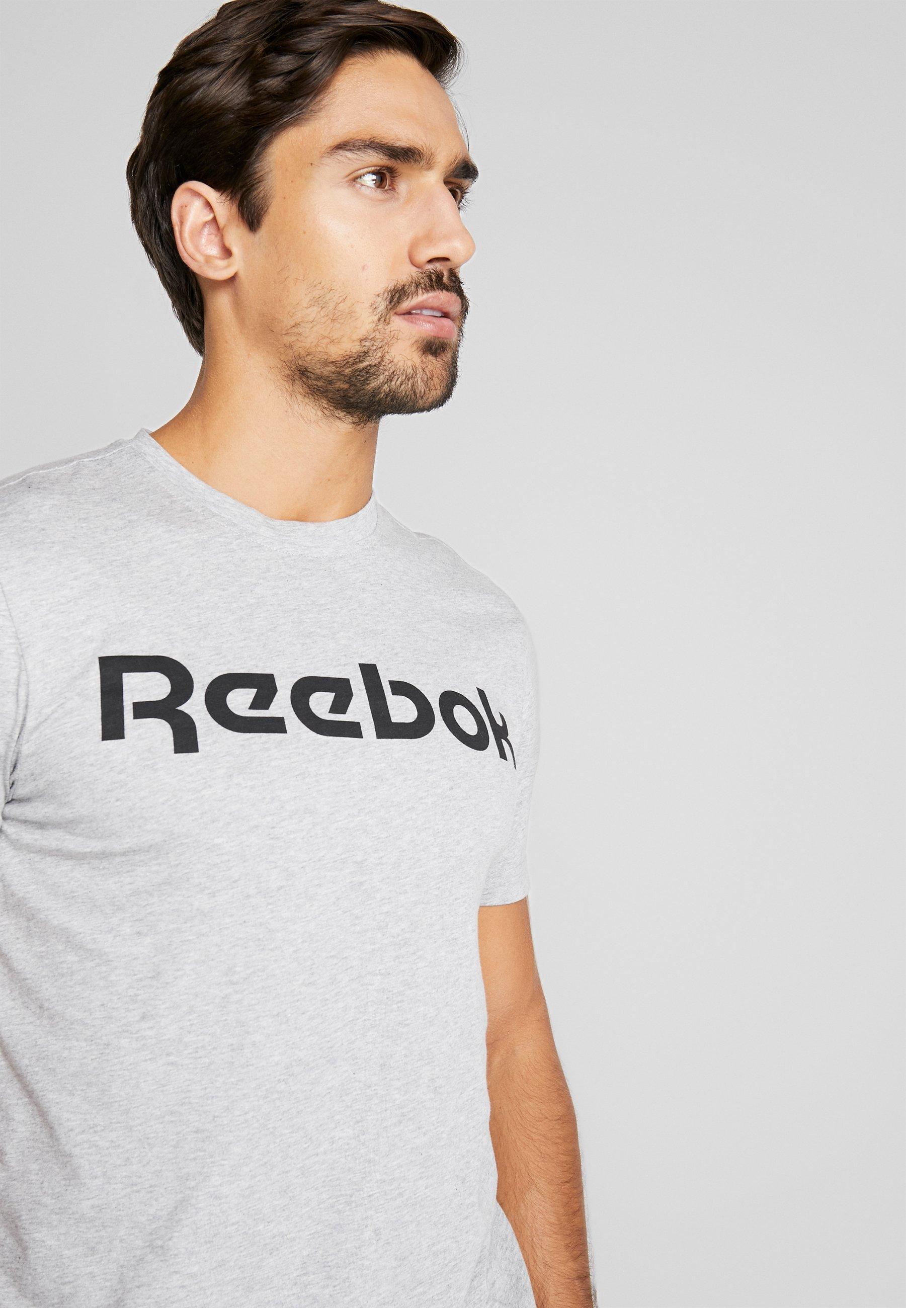 Reebok LINEAR READ TEE - T-shirt z nadrukiem - medium grey heather