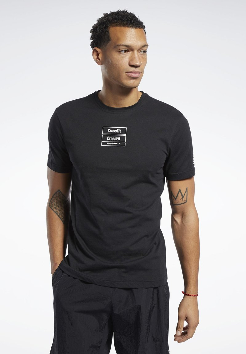 Reebok - REEBOK CROSSFITMESS YOU UP TEE - T-shirt z nadrukiem - black