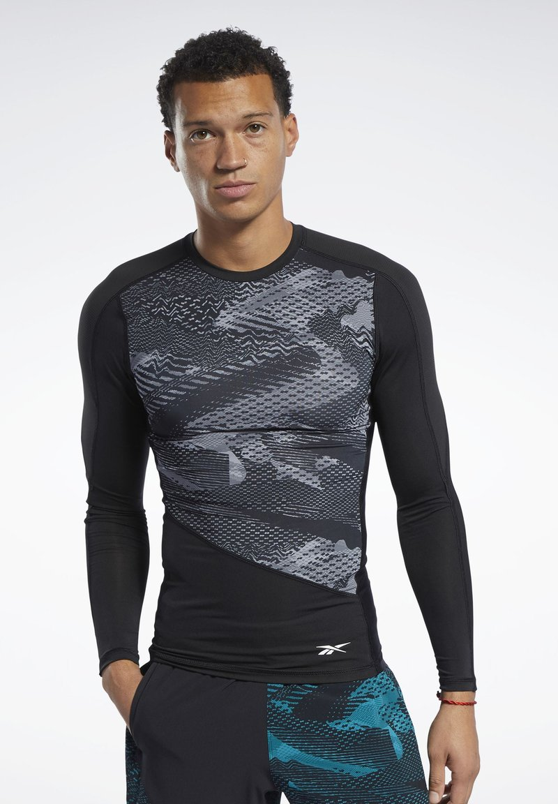 Reebok - GRAPHIC COMPRESSION TEE - Long sleeved top - black