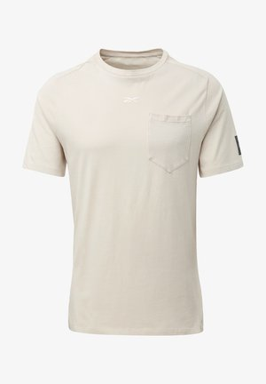 LES MILLS® POCKET TEE - T-shirt imprimé - beige