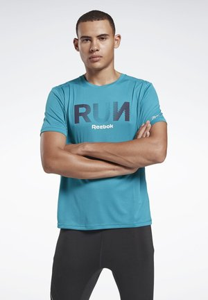 RUNNING ESSENTIALS GRAPHIC TEE - Print T-shirt - seaport teal