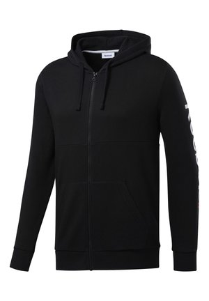 TRAINING ESSENTIALS LINEAR LOGO HOODIE - Bluza rozpinana - black