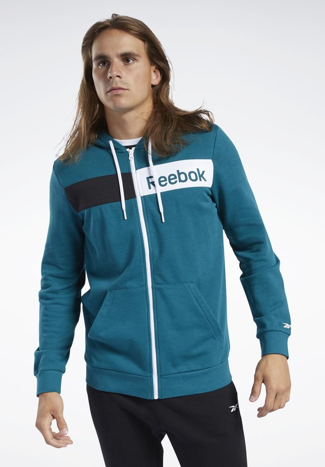 TRAINING ESSENTIALS LINEAR LOGO HOODIE - Sweatjakke /Træningstrøjer - heritage teal