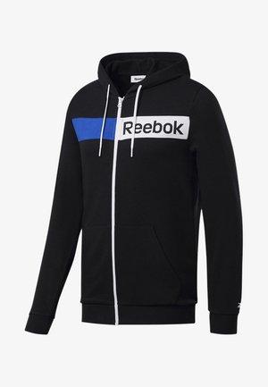 TRAINING ESSENTIALS LINEAR LOGO HOODIE - veste en sweat zippée - black