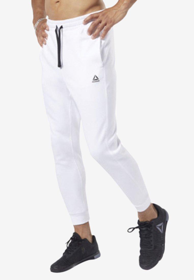 Reebok - TRAINING ESSENTIALS LOGO JOGGER PANTS - Træningsbukser - white
