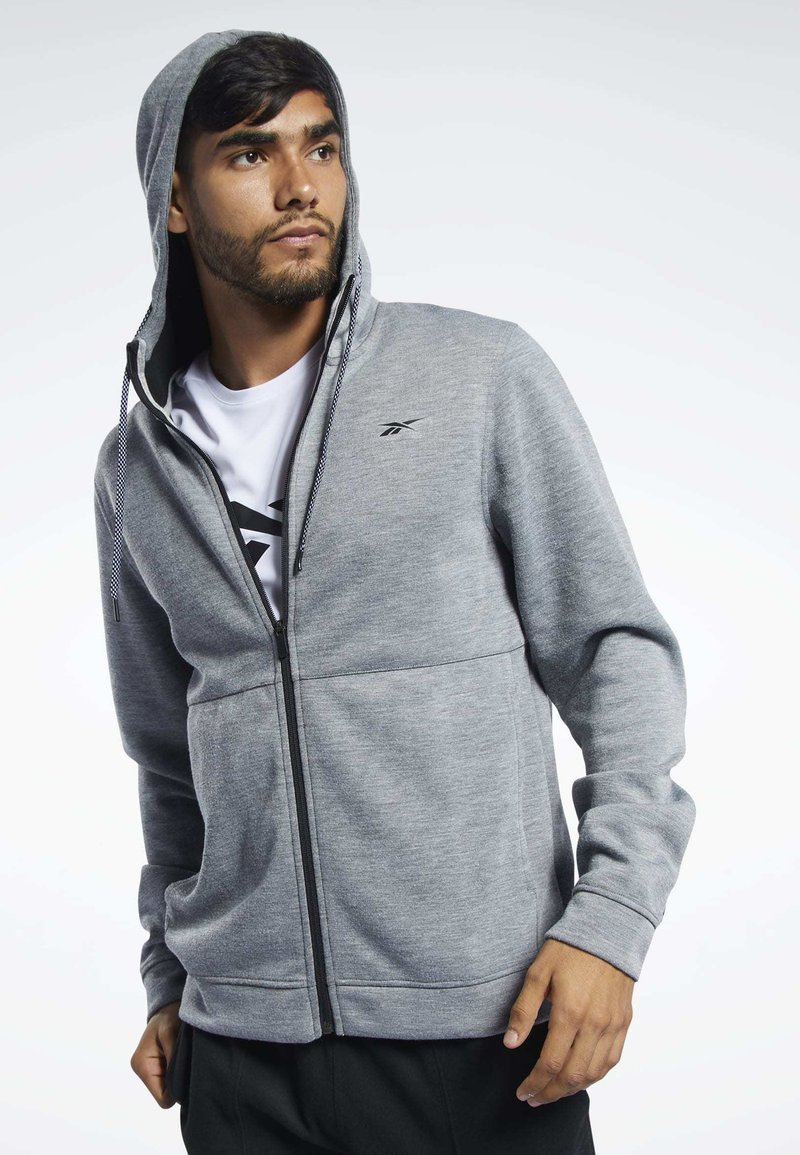 Reebok - WORKOUT READY HOODIE - veste en sweat zippée - grey