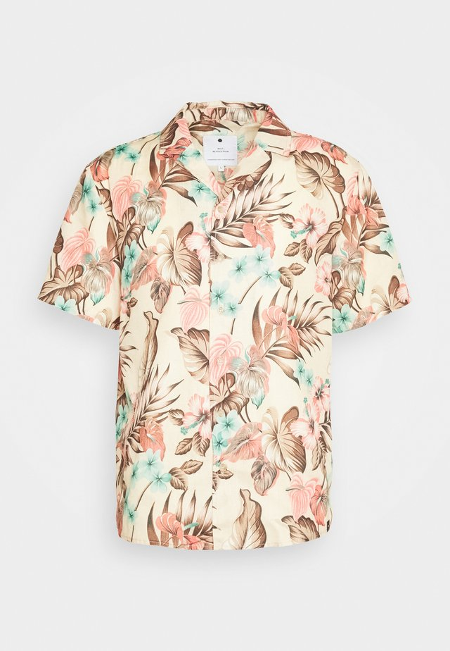 SHORT SLEEVE SHIRT WITH ALL OVER PRINT - Skjorta - khaki