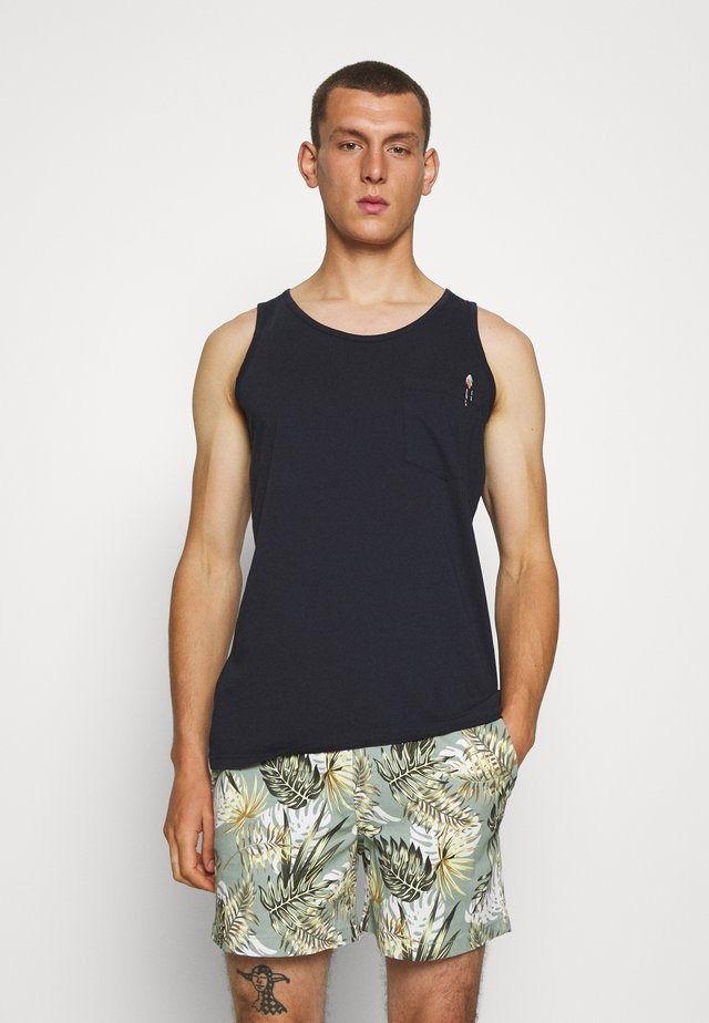 TANK WITH CHEST POCKET AND EMBROIDERY - Débardeur - navy