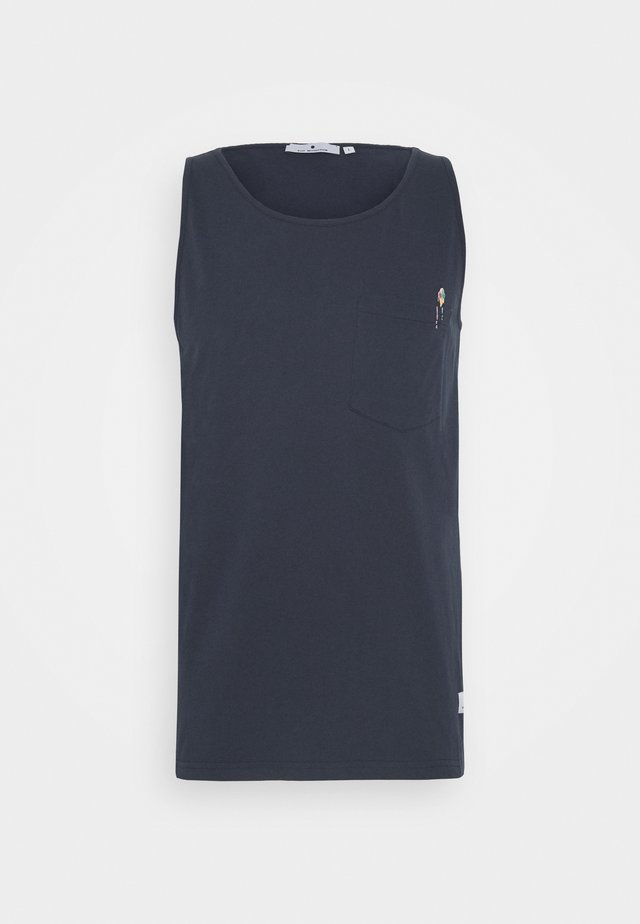 TANK WITH CHEST POCKET AND EMBROIDERY - Linne - navy