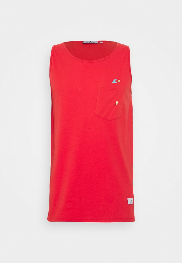 TANK WITH CHEST POCKET AND EMBROIDERY - Linne - red